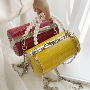Image 2 - Stone Texture Cylindrical Pearl Handle Pu Fashion Casual Clutch Bag Ladies Shoulder Bag Handbag Women Crossbody Bag Female Bolsa