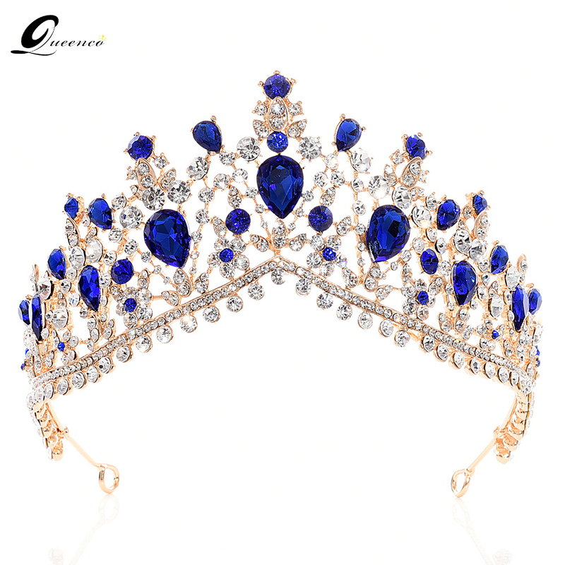 Trendy Blue/Red Bridal Crown Wedding Crowns Hair Accessories Beauty Crowns And Tiaras Diadem Girl's Headpiece Girl's Headbands