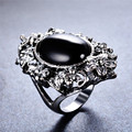 Vintage Fashion Flower Pattern Black Stone Rings for Women Bohemia Style Jewelry White Gold Filled CZ Wedding Party Ring SMT1013
