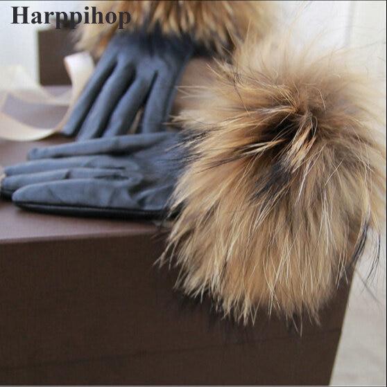 2017 new Real Raccoon Fur Gloves Leather Women's Gloves Fashion Luxury Big Raccoon Fur Sheepskin Genuine Leather Gloves Female