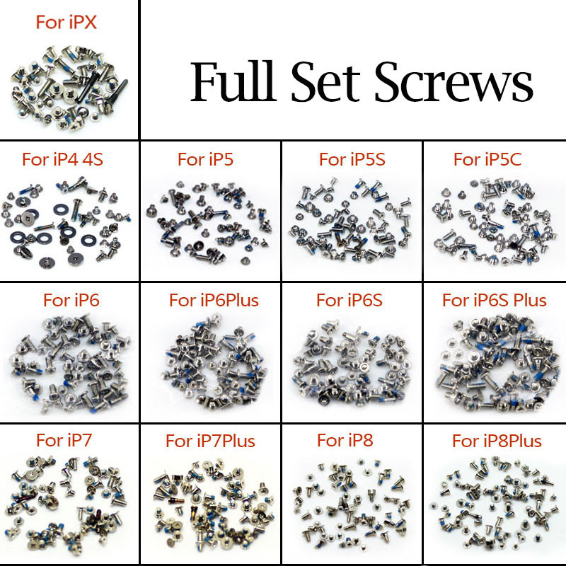 Full Set Screw With 2 Bottom Dock For IPhone 6 6s Plus Screws 4 4S 5 5S 5C SE Repair Bolts Complete Kit Replacement Accessories