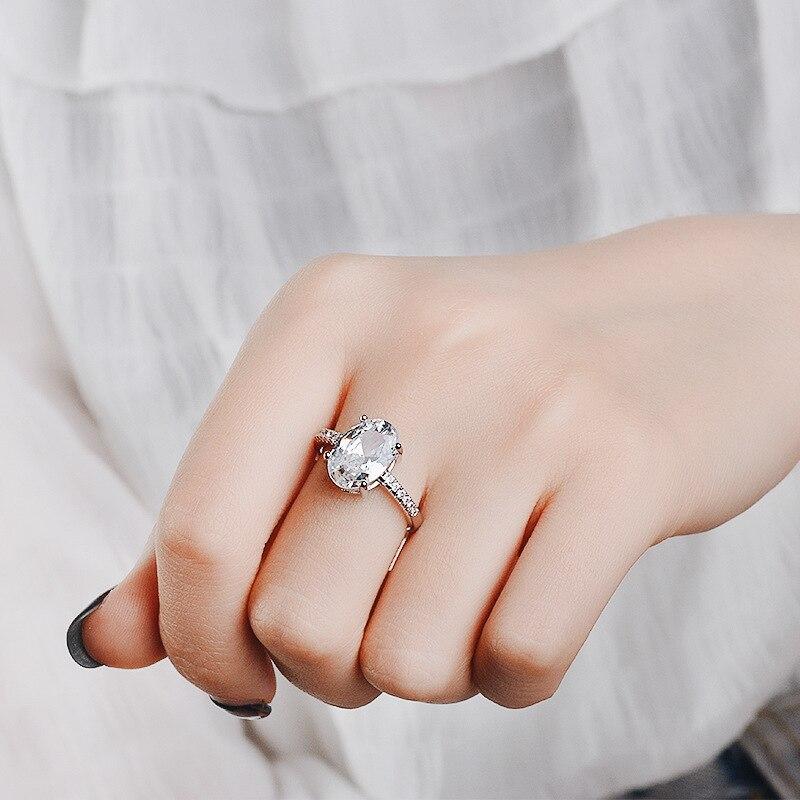 Schmuck & Zubehör Utimtree Oval Zirkonia Ringe Mode Hochzeit Schmuck Weibliche Engagement Ring Für Frauen Kristall Silber Farbe Versprechen Ringe Auswahlmaterialien