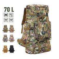 70 L Backpack Military Tactics High Capacity Outdoor Mountaineering Bag Camouflage Waterproof Hiking Trekking Rucksack 6 Color