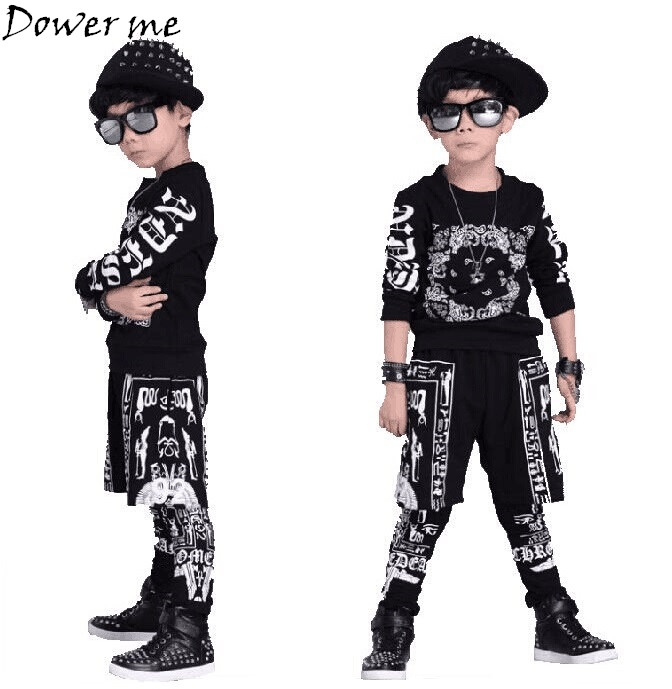 Tops+Pants Boy Girl Clothing Girls Clothes Set Baby Boys Tracksuit Kids Cloth 4 8 10 14 16 Years Children Dance Hip Hop Clothing children clothing set kids tracksuit sports suit boy girls fashion camouflage hoodies harem pants kids hip hop clothes