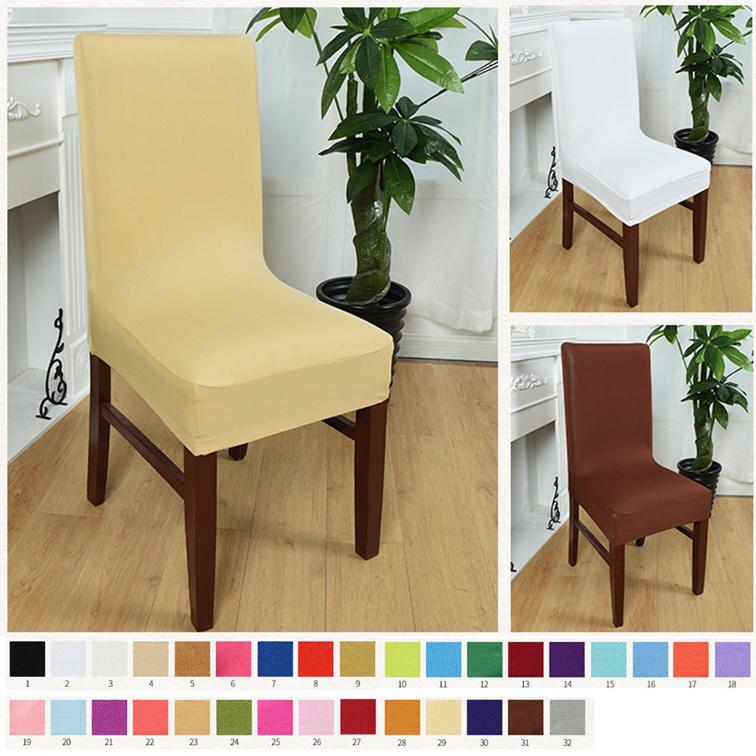 Computer Chair Spandex Strech Dining Room Chair Covers Protector Slipcover Decor Housse De Chaise Seat Covers For Weddings
