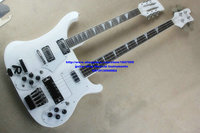 New Double neck bass guitar 4 string bass and 12 string guitar white Electric Guitar OEM Available