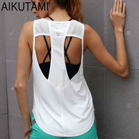 Yoga Top Sport Shirt Women Hollow Back Breathable Fitness Woman Sports Wear Dri Fit Yoga Tank Top Gym Clothing Workout Shirts
