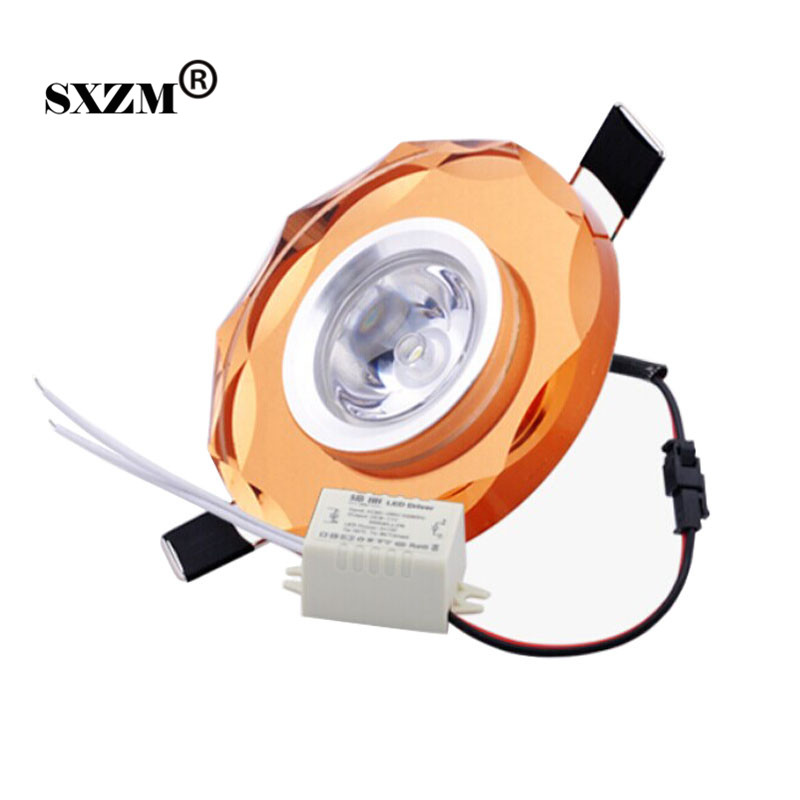 Free shipping 1x3W white or warm white crystal led downlight mini led lamp for cabinet AC85-265V indoor home decoration
