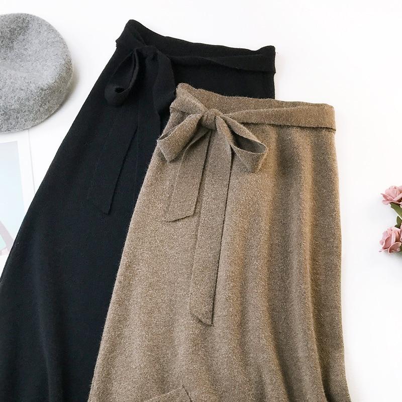 344 water velvet knit skirt women 2018 autumn and winter new women's long section high waist bag hip split A skirts 5