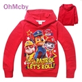 New Casual Boys T Shirt Cotton Long-sleeved Sweater Cartoon Patrol Dog Girl Kids Hooded T-shirts Top Children Clothes GLT019