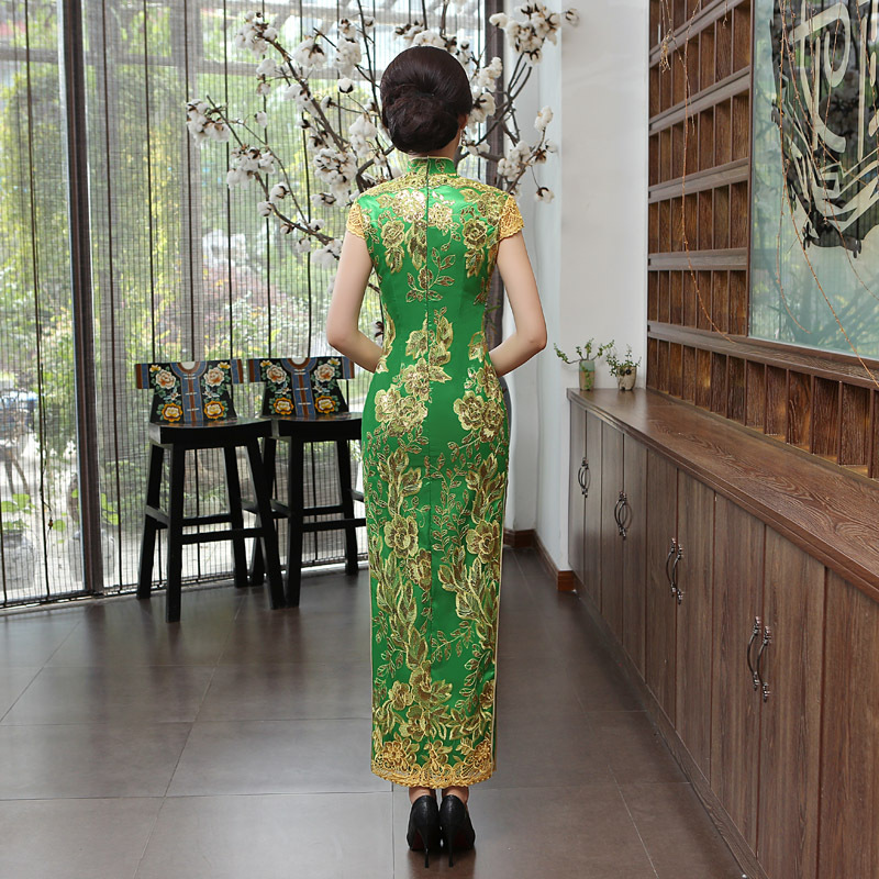 Cheongsam Estilo Chinês Vestido de Noite Sexy