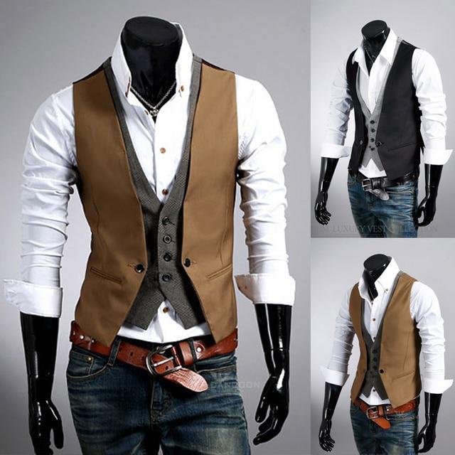 2016 Moda de Nueva Mens Blazer Chalecos Slim Fit Dos Piezas a cuadros Traje de Chaleco Chalecos de Vestir para Hombres Breasted Chaleco Colete Masculino