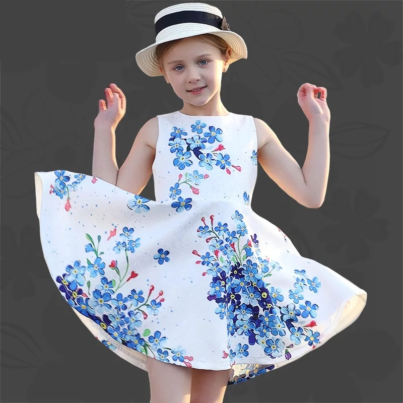 Summer Kids Clothing children clothes A-line sleeveless floral big hem full sundress girl birthday party formal jacquard dresses random floral print v neck sleeveless irregular hem dresses