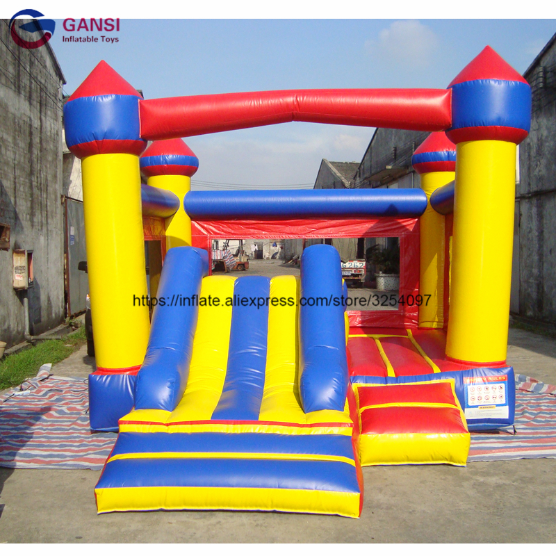 Free air blower colorful kids jumping castle, 6*5*5m giant inflatable bouncer house with slide