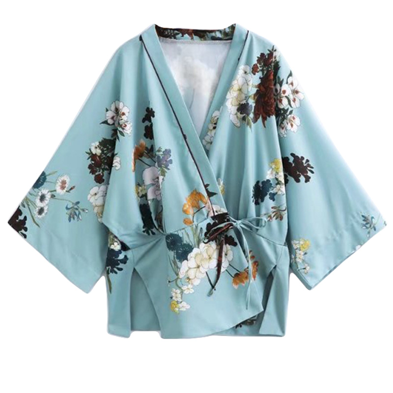 Women Spring Floral Print Kimono Cardigan Jacket Women Floral Blouse Coat Women Summer Flower Cardigan Outwear Female Tops