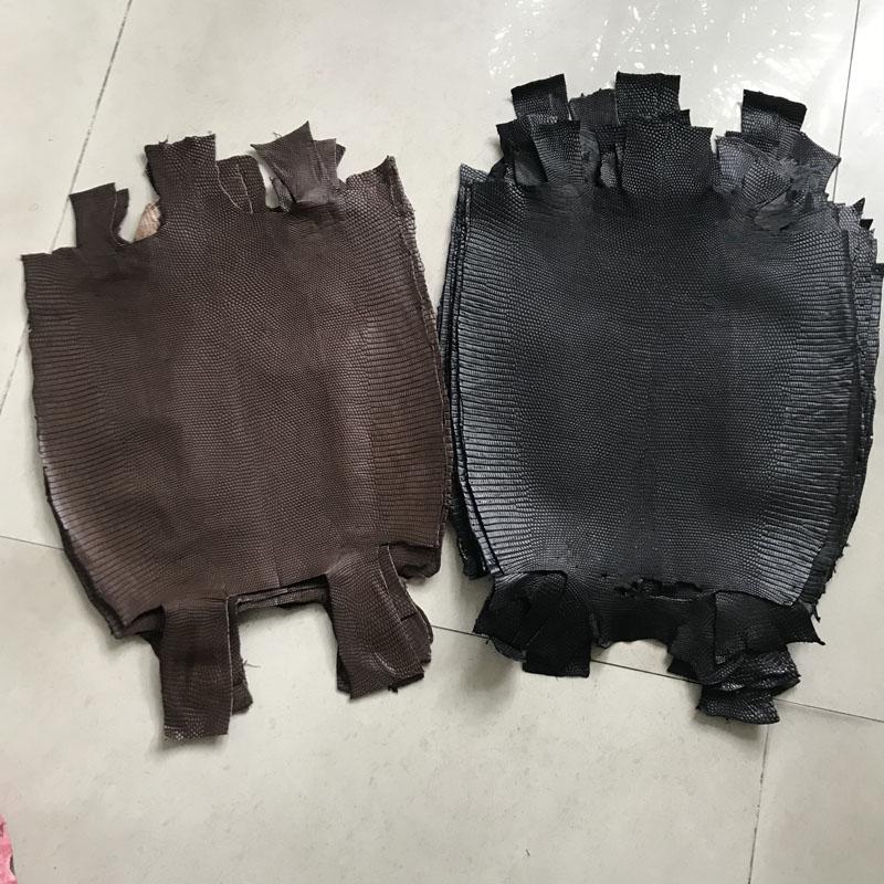 Véritable cuir artisanat Lézard peau brun noir pièce entière