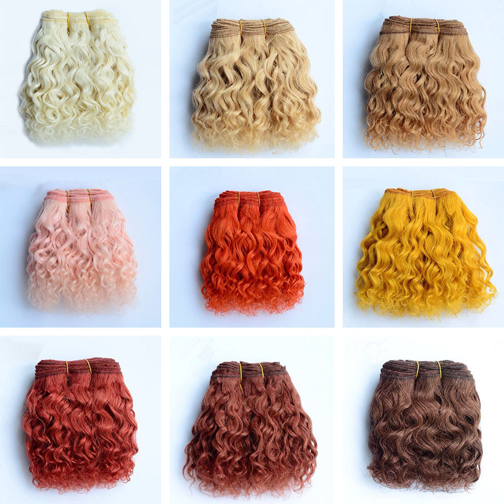 Natural Color Wool Hair Wefts For Dolls 1pc 15cm Curly Wave Hair Extensions For 1/3 1/4 BJD/SD Doll DIY Handmande Doll Wigs Hair