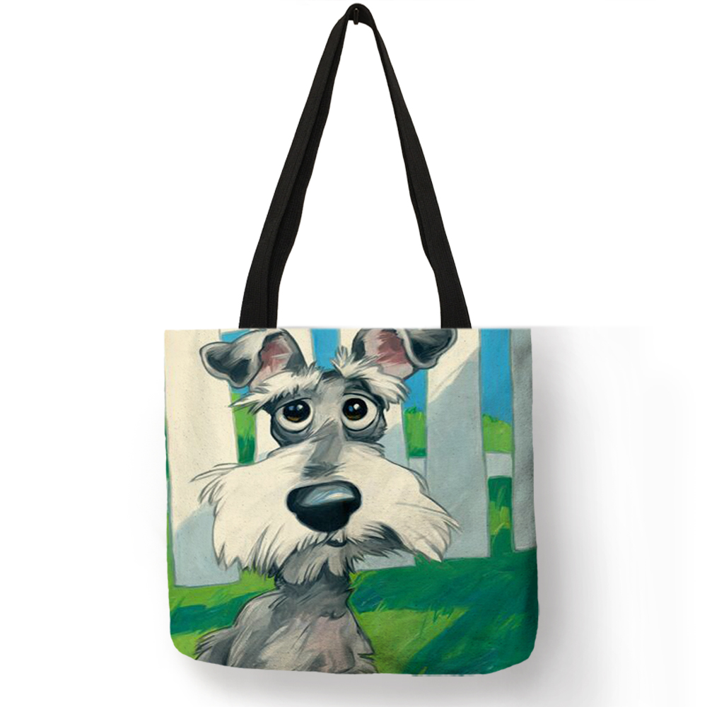 Personalized Dog Art Print Linen Tote Bag Schnauzer Golden Retriever Women Fabric Handbag Student School Bags Traveling Shopping