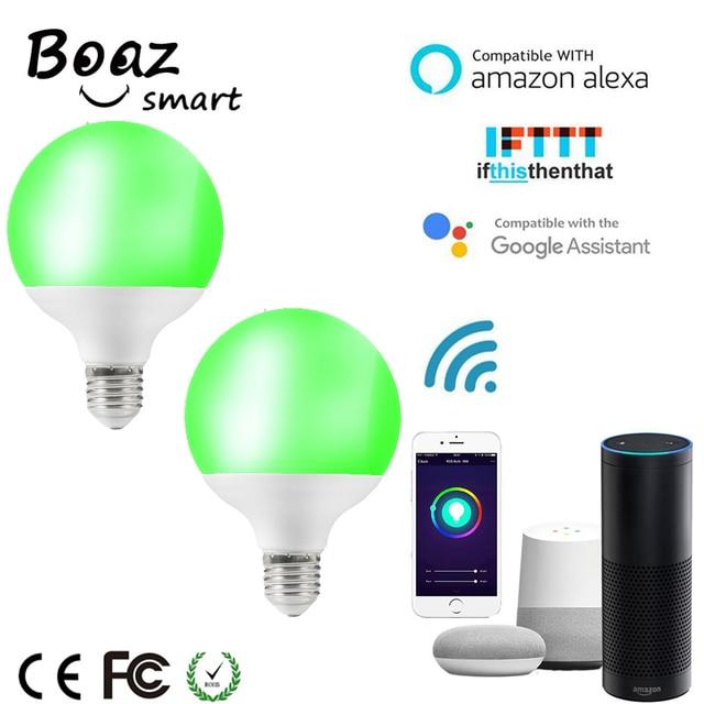 Boaz 2 piezas E27 bombilla inteligente Wifi bombilla de luz inteligente Control de voz G95 globo bombilla regulable Alexa Echo Google Home IFTTT Tuya inteligente