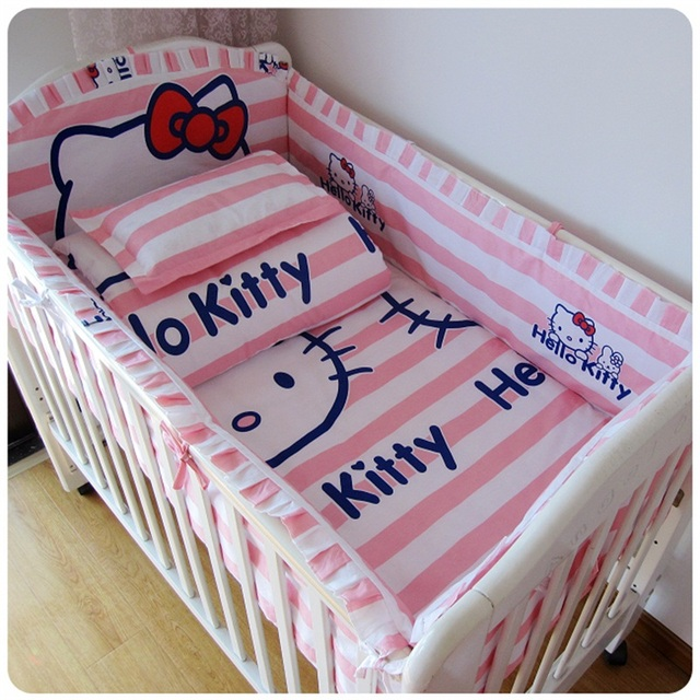 Promotion 6pcs Pink baby bedding set 100% cotton crib baby cot sets kitty baby bed (bumpers+sheet+pillow cover) free shipping