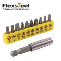 "10PCS 1"" 1/4"" Shank Screwdriver Bit+1PCS 2"" 1/4"" Hex Magnetic Extension Extend Socket Screw Bits Holder Bar for Cordless Drill"