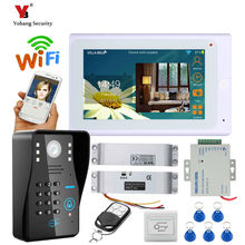 Yobang Security 7″TFT Wired / Wireless Wifi RFID Password Video Door Phone Doorbell Intercom System with Electric Drop Bolt Lock