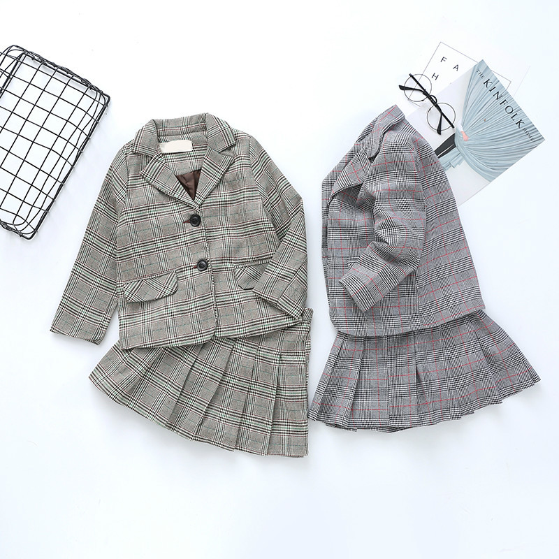 Fashion Autumn Brother& Sister Family Matching Outfit Baby Boys Girls School Uniform Set Children Classic Plaid Clothing Set