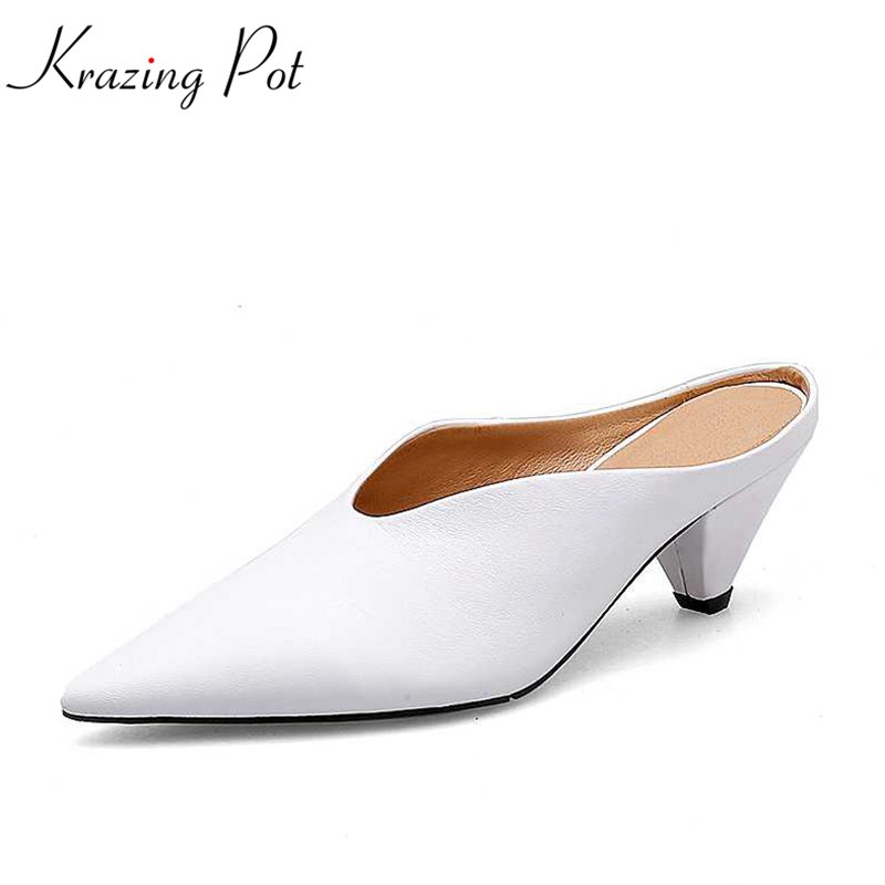 Krazing pot 2018 new cow leather slip on slingbacks pointed toe med heels concise style women pumps high fashion women mules L18 krazing pot fashion brand shoes genuine leather slip on pointed toe concise lazy style strange high heels women cozy pumps l73