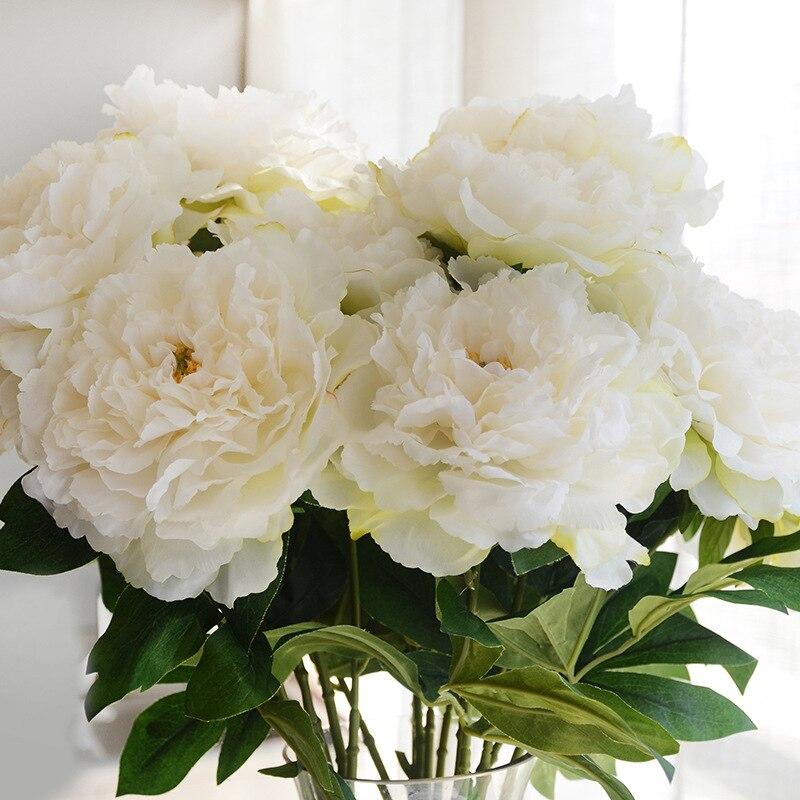 Искусственные цветы букет Пион Шелковый цветок Европейский 5 головок большие пионы осень яркие Поддельные листьев свадебный цветок Главна...