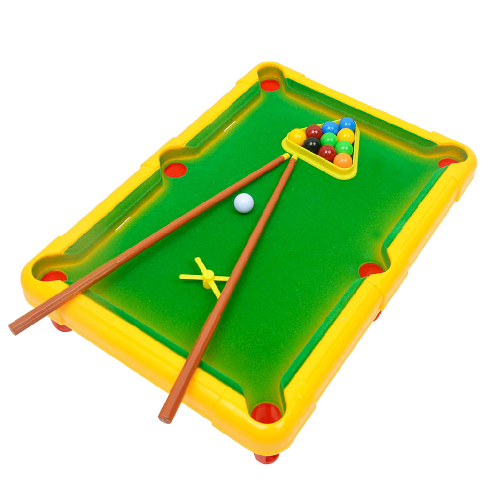 Mini Pool Table Set with Mini Pool Balls Cue Sticks Accessories - Tabletop Kids Toy - Play Billiards Game - Desk Fun Gag Games
