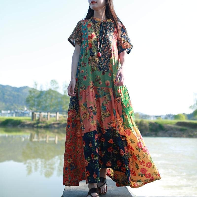 LZJN Trendy 2019 Yay Çimərliyi Bohemiya Geyimi Qadın Qısa Qollu Etnik Pambıqlı Robe Femme Patchwork Boho Maxi Uzun Köynək paltarları