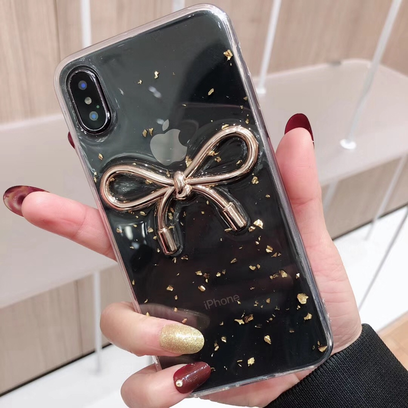 Tfshining Fashion Bow Tie Phone Cases For iphone X XR XS Max 6 6s 7 8 Plus Gold Foil Glitter TPU Clear Cover Coque For Girls Hot (8)
