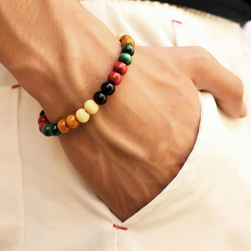 Nowe mody naturalnie drewniane zroszony korzeń Chakra Jewery & Hip Hop bransoletka z koralików budda słowo biżuteria dla kobiet mężczyzn prezent specjalna wyprzedaż