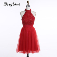Berylove короткие красные Homecoming платья 2018 Бисер мини Платья для выпускного спинки Для женщин выпускного вечера вечерние платья, коктейльные пл