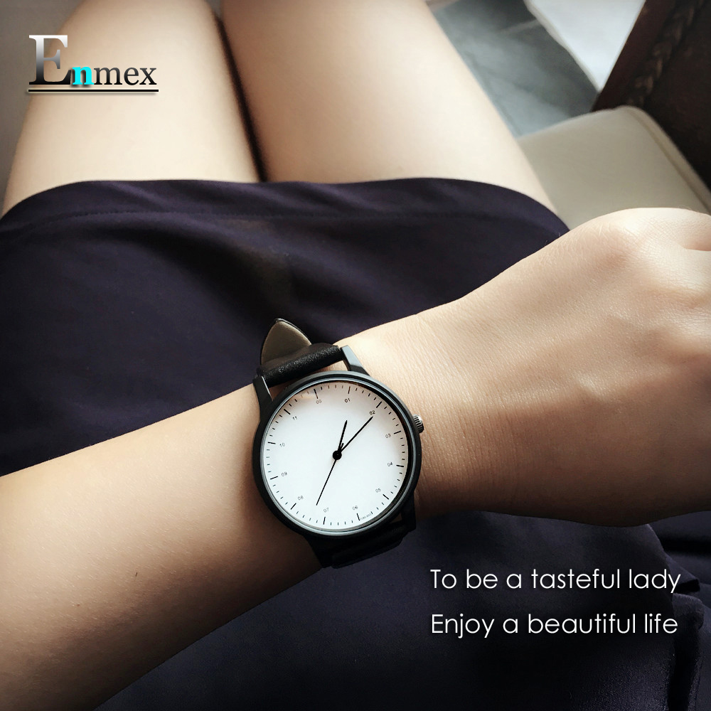 2017gift Enmex cool women wristwatch Brief vogue  simple stylish with Black and white face lady casual  quartz  fashion watch 2017 gift for lady enmex simple design pure white wristwatch fresh and clean style lovely lady fashion clock quartz watches