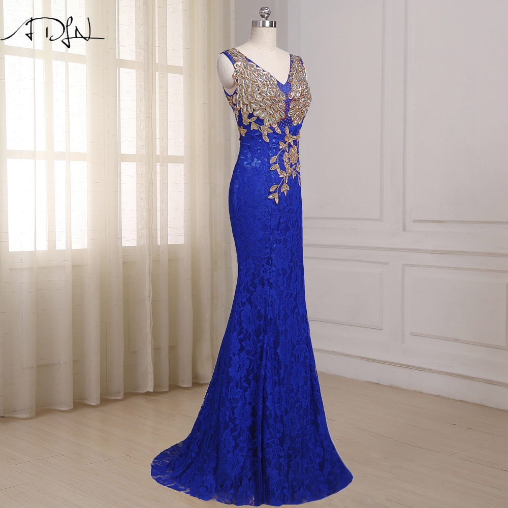 Blue V Neck Appliques Sequin Lace Bridesmaid Dress