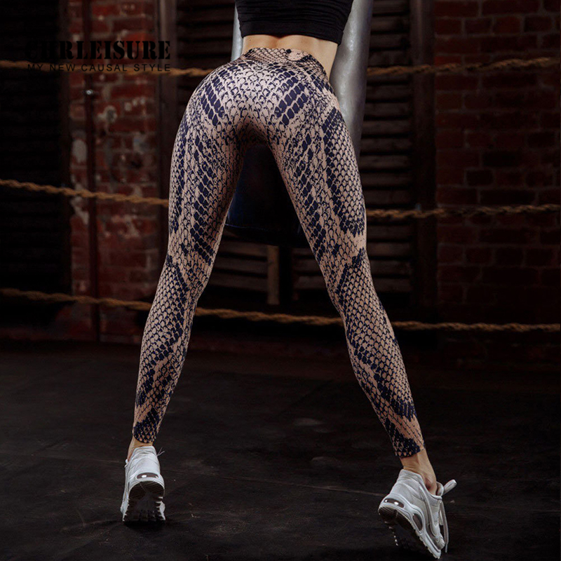 SVOKOR Trend Printing Fashion Women's Sports Fitness   Leggings   Polyester High Waist   Leggings   Sexy Snake Workout   Leggings