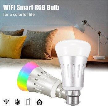AIMIHUO E27/B22 WIFI inteligentne żarówki LED RGBW 7 W AC85-265V 16 milionów miękkie kolory aplikacji pilot zdalnego sterowania ściemniania światła inteligentna dioda LED
