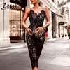 INDRESSME Sexy Deep V Backless Lace Mini Women Bandage Party Dress Fashion Spaghetti Strap Black Bodycon