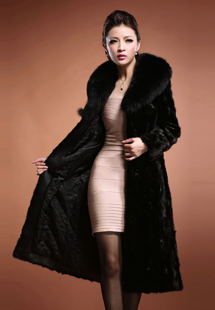 Winter Luxury Womens Outerwear Long Sleeve Mink Faux Fur Coat Long