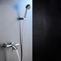 Современная твердой латуни Ванна смеситель для душа комплекты настенный термостатический Ванная комната душевой смеситель двойной ручкой