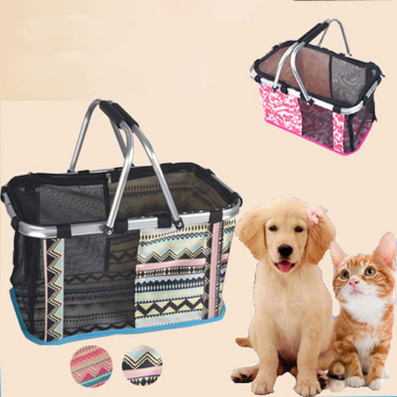 dog bag for small dogs Foldable Portable Outdoor Pet Dog Carrier Hand Basket Carrying Bag Breathable Safety Dog Cat Mesh Cage