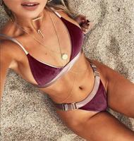 Solid Modern Fit Strappy Butt Bottom Scrunch Bandage Bikini Set Fashion Swimsuit String Micro Brazilian Swimwear