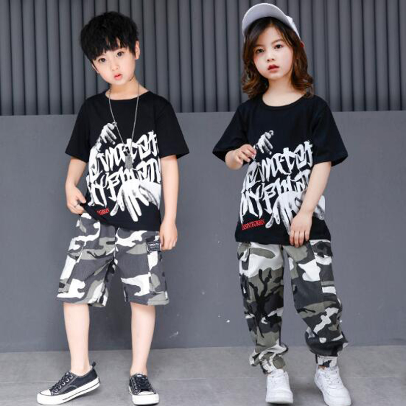 2018 Summer Black Hip Hop T Shirt And Camouflage Shorts 2pcs Set Kids Jazz Streetwear For Boys Girls Children Sport Clothes