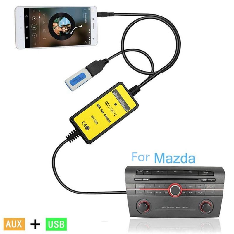DOXINGYE USB AUX Mp3 Player Adapter Car Digital Music Cd Changer 3.5mm for Mazda 2/3/5/6/CX7/MX5/MPV/Miata/Tribute/RX8 interface
