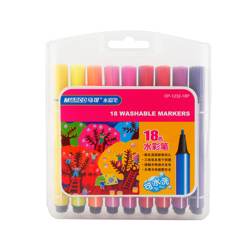 Marco Washable Markers Watercolor Pen OP 1232 12/18/24/ colors for ...