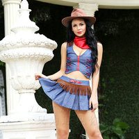 Adult Cowgirl Costume Carnival Role Play Outfits for Women Traditional Cosplay Fancy Mini Dress Scotland Cowboy Costumes 6526