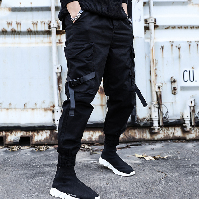 2019 NEW Streetwear Ribbons Casual SweatPants Black Slim Mens Joggers Pants Side-pockets Cotton Camouflage Male Trouser 3