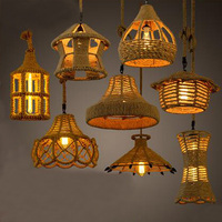 American country retro creative pastoral rope hang cafe bar restaurant chandeliers