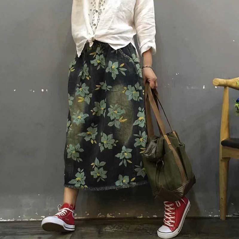 Retro flowers floral print Elastic waist denim skirt saia mori girl 2018 new
